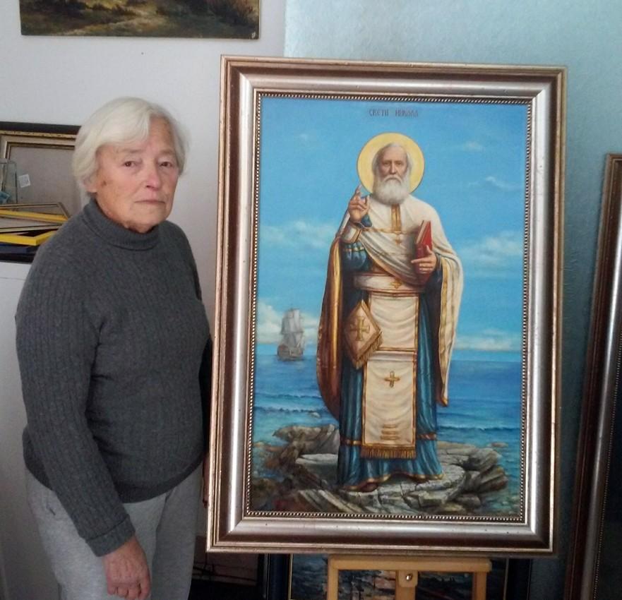 celikovic ljiljana sveti nikola St. Nicolas, Oil on Canvas