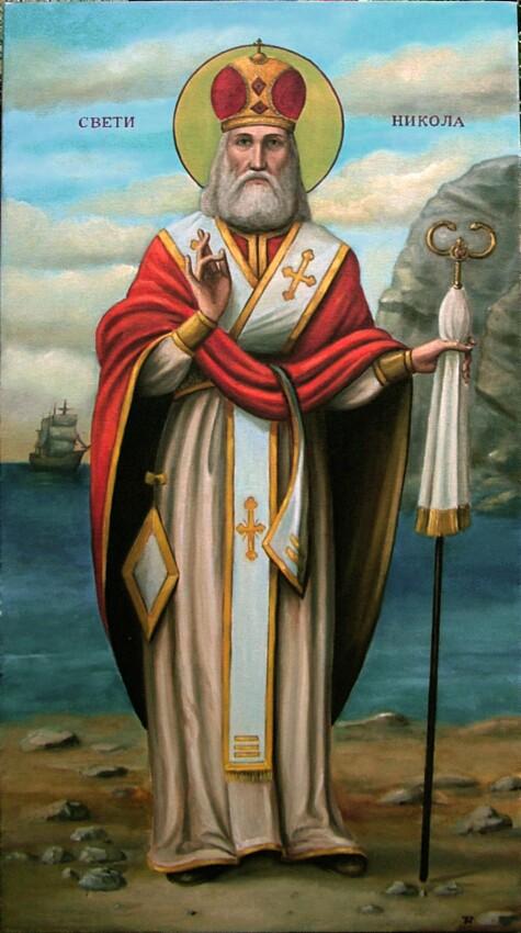 sveti otac nikola ulje na platnu