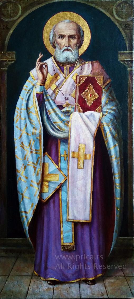 ikona sveti nikola ulje na platnu